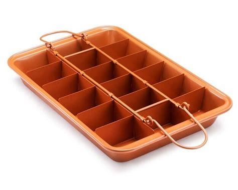 brooklyn brownie nonstick copper pan  gotham steel mix bake serve brownies ebay