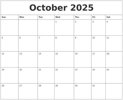 blank monthly calendar template october 2025 blank monthly calendar template