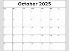 October 2025 Free Calender