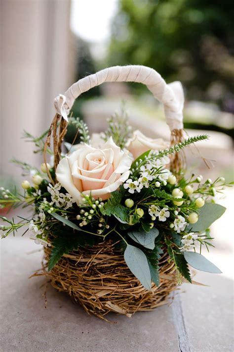 wedding inspiration   basket flower arrangements