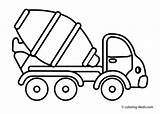 Coloring Truck Pages Dump Mixer Cement sketch template