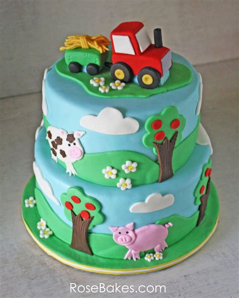 themed cakes farm animals cupcake toppers tutorials rose bakes
