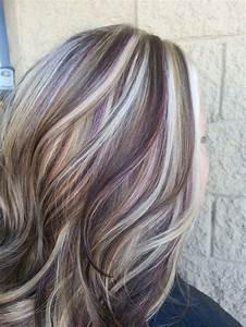 chocolate brown, purple lowlights in blonde hair - Google ...
