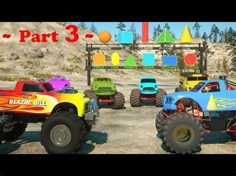 monster truck videos for kids online learn shapes and race monster trucks toys part 3 videos