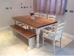 Farmhouse Dining Room Table Seats 12 by Shabby Chic Rustic Farmhouse Solid 8 Seater Dining Table Bench And 6 Oak Chai