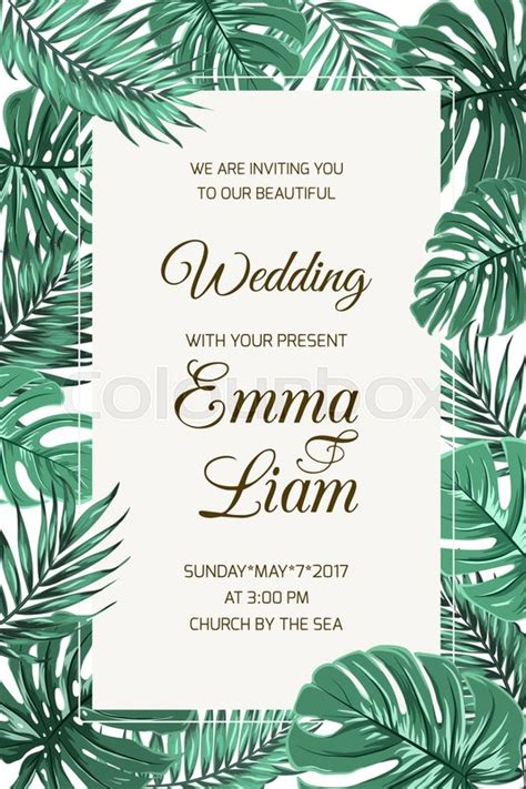 tropical poster template wedding event invitation card template exotic tropical