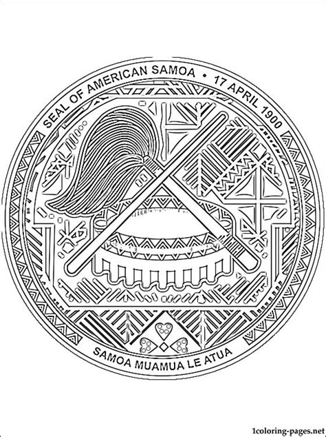 american samoa coat  arms coloring page coloring pages