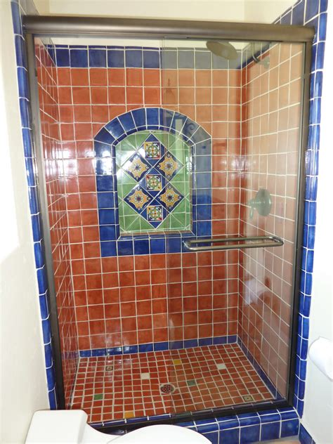 mexican tile bathroom ideas bathroom shower using mexican tiles by kristiblackdesigns com kristi black designs pinterest