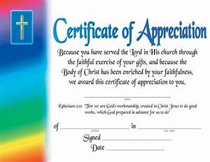 Certificate of appreciation certificates church supplies dexter press for Church certificate of appreciation