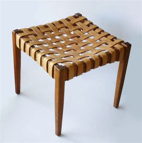 mid century  danish woven leather wood stool