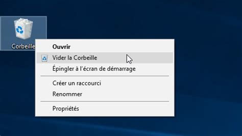 plus de corbeille sur le bureau vider la corbeille dans windows 10