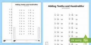 Adding Tenths And Hundredths Worksheet    Activity Sheet