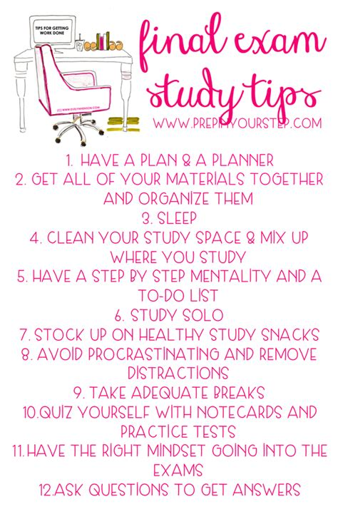 Prep In Your Step Final Exam Study Tips