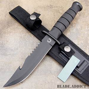 """10 5"""" Fixed Blade Tactical Gut Hook Hunting Survival Knife ..."""