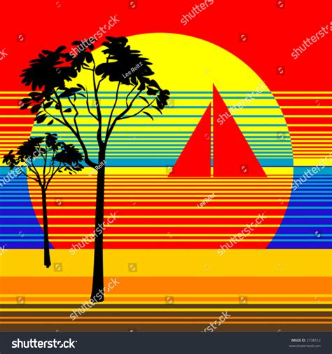 Vector Illustration Bright Abstract Sunset Beach Stock