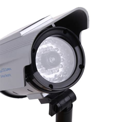 led security light with camera solar power fake dummy outdoor security home cctv camera