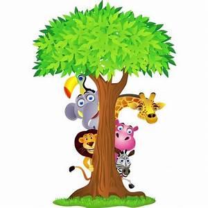 Stickers Animaux De La Jungle : sticker enfant arbre animaux de la jungle art d co stickers ~ Mglfilm.com Idées de Décoration