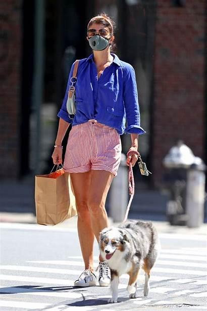 Helena Christensen Dog Walking Nyc Striped Stylish