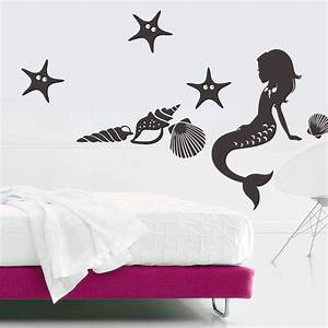 wall decal vinyl sticker mermaid nymph deep sea nursery With best decor mermaid decals for walls
