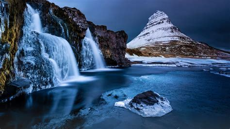 Peak Of Kirkjufell With Waterfall Snæfellsnes Peninsula