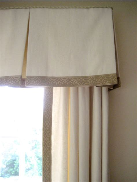 classic beige embroidered tape trim  box pleated valance