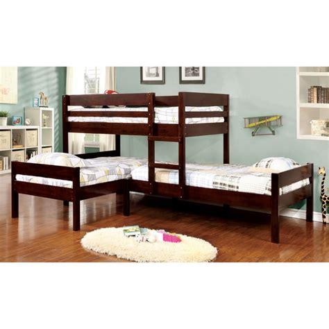 toddler trundle bed furniture of america tressa espresso wood corner bunk