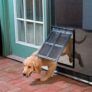 Dog cat pet large screen door 2 way flap lock gate way for for Dog door flap material