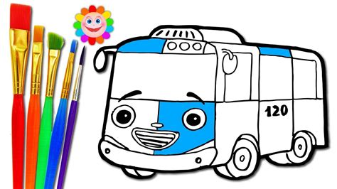 drawing city bus coloring pages   draw tayo