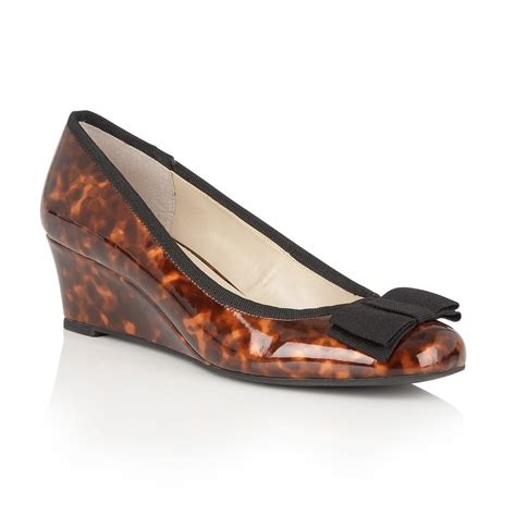 Lotus Rea Brown Tortoiseshell Wedge Ballerina Shoes