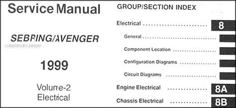 car repair manual download 1999 chrysler sebring lane departure warning 1999 chrysler sebring dodge avenger repair shop manual original 2 volume set