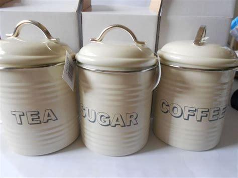 Cream Trendy Vintage Tea Coffee & Sugar Tins Kitchen