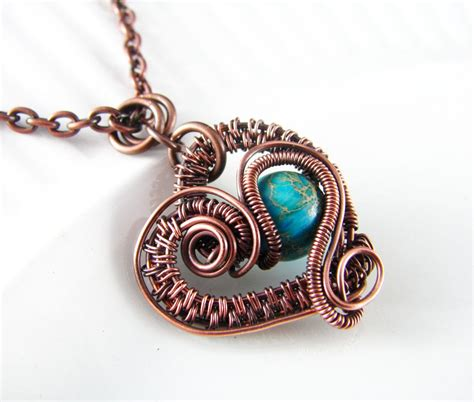Wire Wrapped Pendant Turquoise Imperial Jasper And Copper