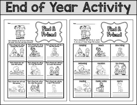 End Of Year Activity Find A Friend Freebie (sarah's First Grade Snippets)  End Of The Year