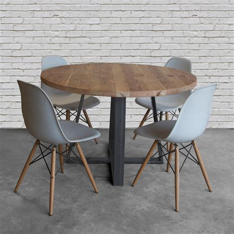 metal legs for wood table round wood table in reclaimed wood and steel legs in your