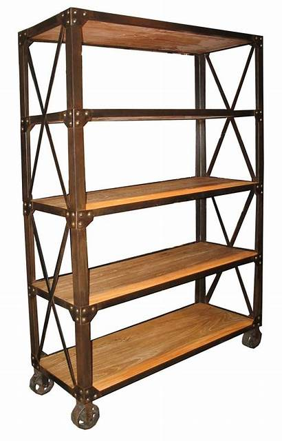 Metal Wood Industrial Bookcase Shelves Tall Bookcases