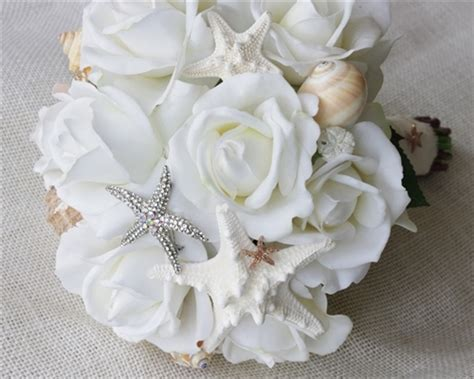 brooch seashells starfish  natural touch roses bouquet