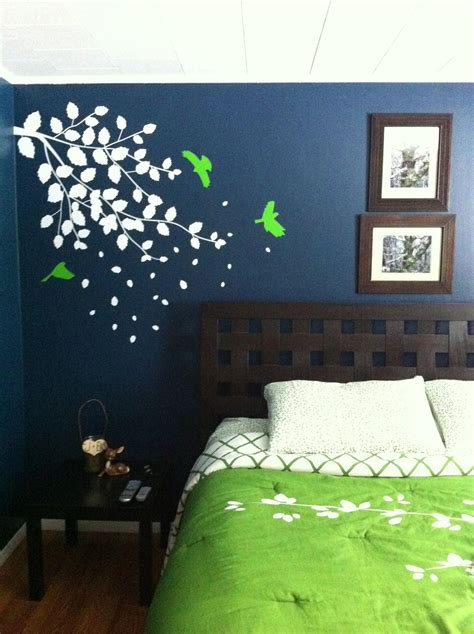 blue bedroom with bright green accents wall color