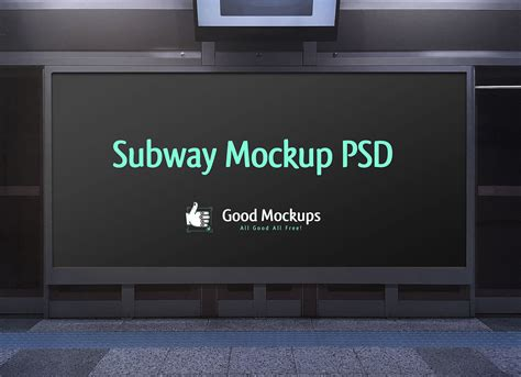 Subway Ad Mockup Free Outdoor Advertising Subway Hoarding Mockup Psd File