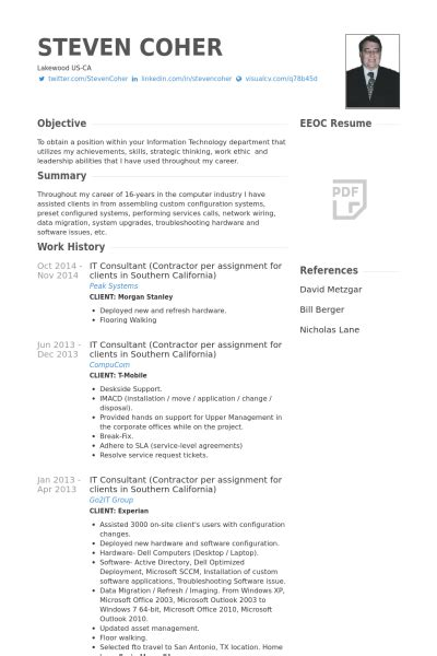 it consultant resume sles visualcv resume sles