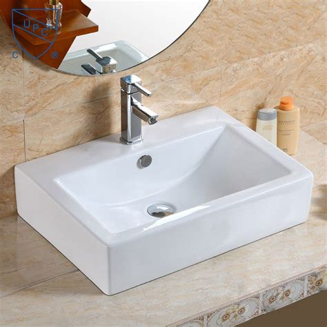 affordable kitchen sinks white rectangle ceramic above counter basin cl 1179 1179