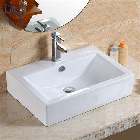 dessus de comptoir salle de bain lavabo vasque rectangle de dessus de comptoir en c 233 ramique blanche cl 1179 decoraport canada