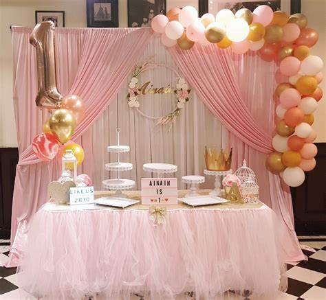 blush pink birthday backdrop dessert table decor