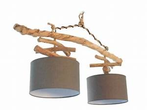 Plafonnier En Bois : lustre plafonnier en bois flott gris 30 cm cr ation unique double suspension led ~ Melissatoandfro.com Idées de Décoration