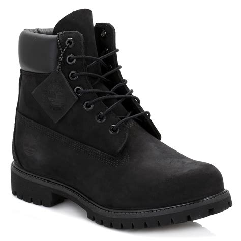 Timberland Mens Black Premium Inch Nubuck Leather Boots