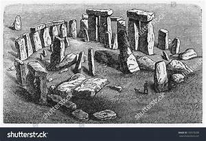 Vintage Drawing Stonehenge End 19th Century Stock Photo ...