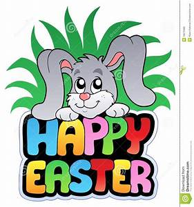 Happy Easter Sign With Cute Bunny Royalty Free Stock Photo ...