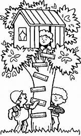 Coloring Treehouse Tree Seek Playing Hide Pages Houses Boomhutten Drawing Trees Fun Kleurplaten Children Cesar Chavez Colouring Printable Kleurplaat Van sketch template