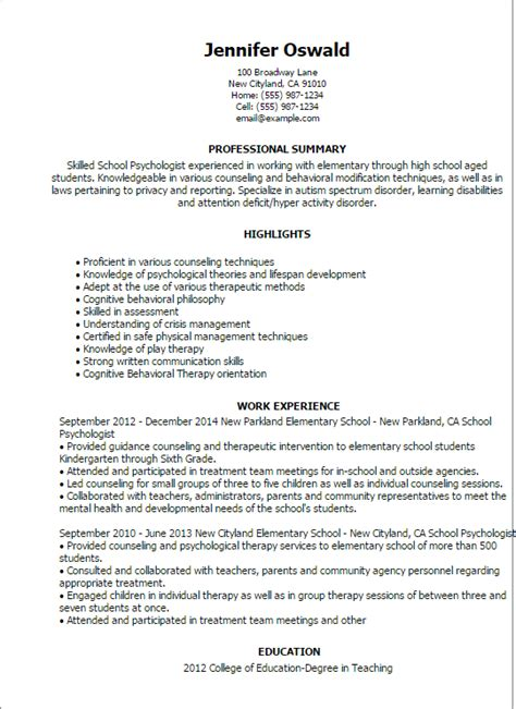 Psychologist Resume by Professional School Psychologist Templates To Showcase
