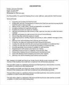 assistant description duties sle executive assistant description 8 exles in pdf word