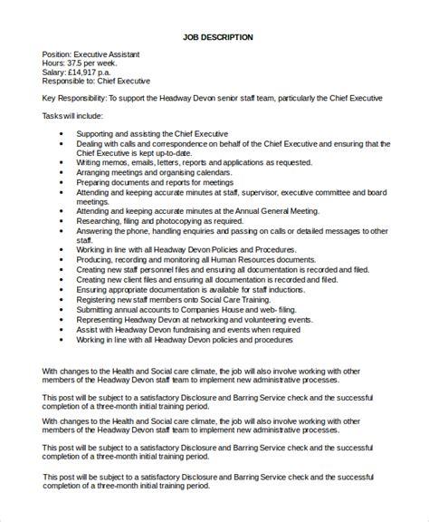 Executive Description Duties by Sle Executive Assistant Description 8 Exles